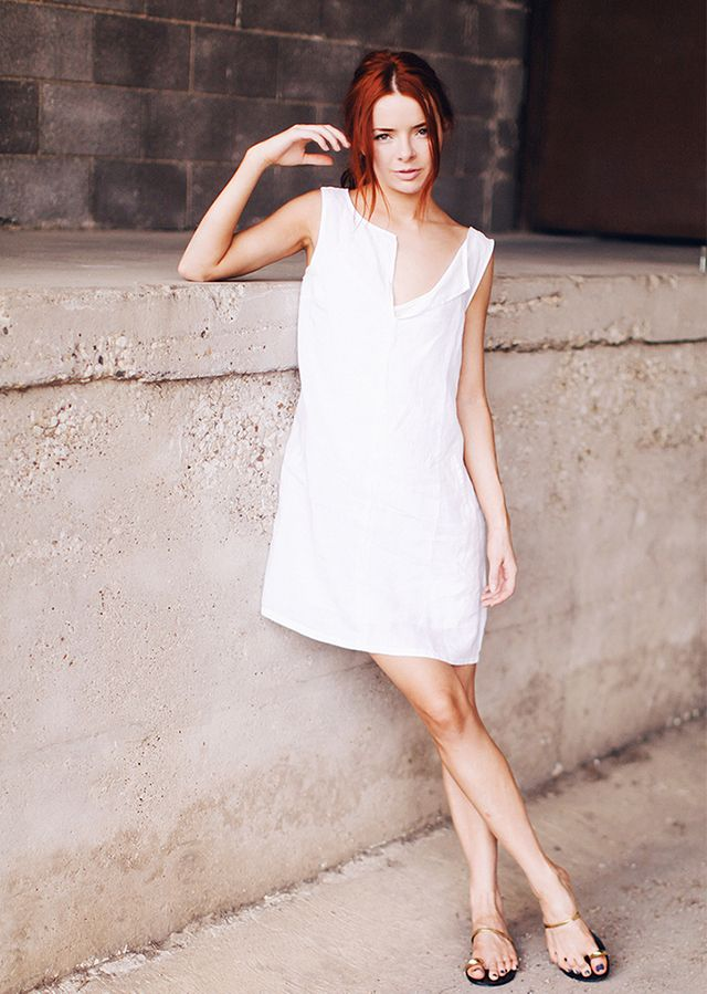 Shift Dress + Minimal Sandals