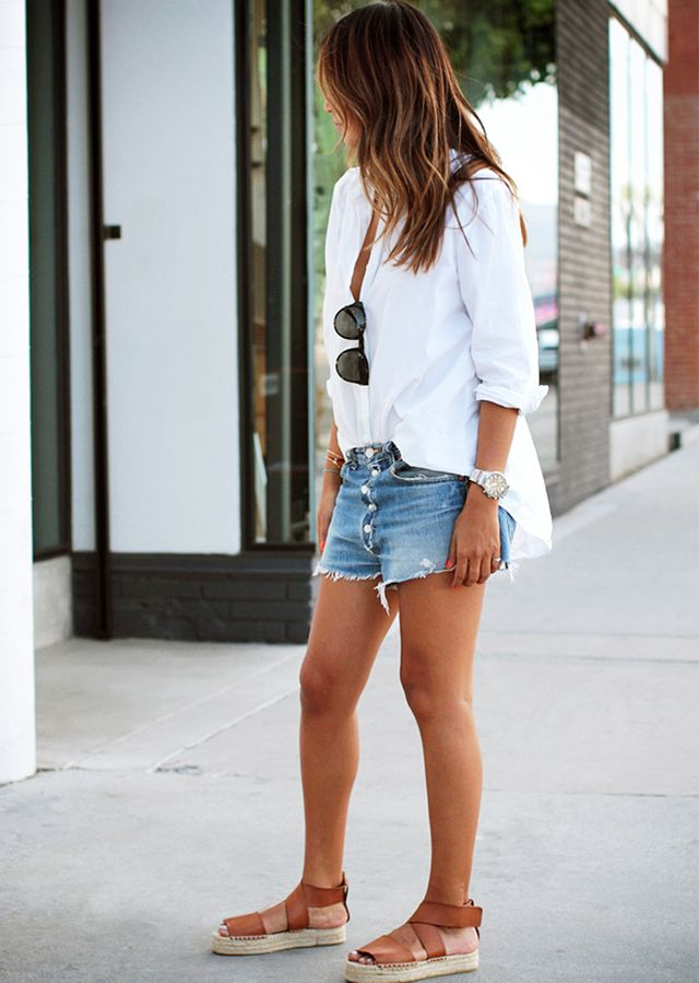 Button-Down Shirt + Cut-Off Jeans + Espadrilles