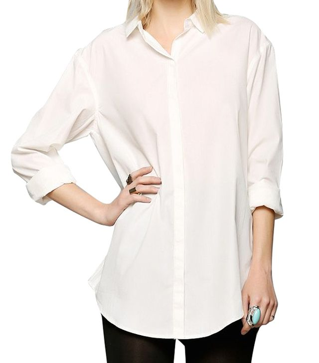 Silence + Noise Tucked & Shirred Button-Down Shirt