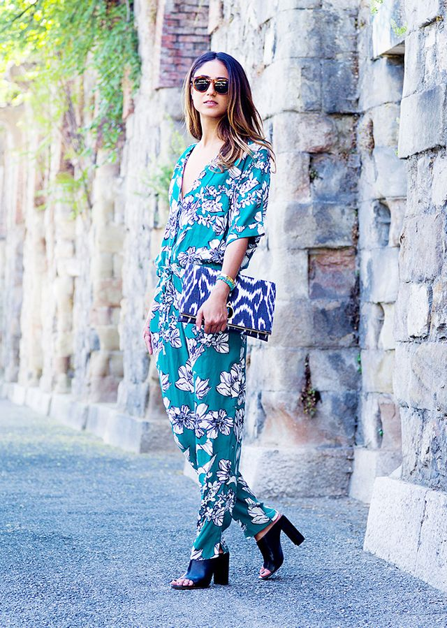 Printed Jumpsuit + Oversized Clutch + Mules