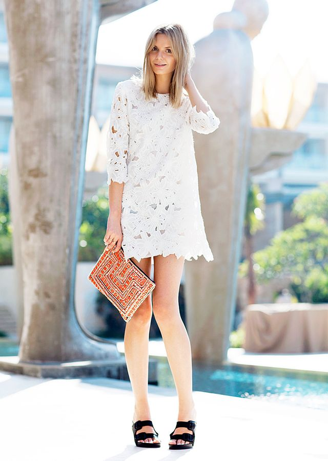 Lace Dress + Embellished Clutch + Birkenstocks