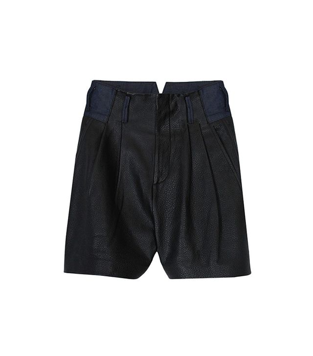 Tibi Pebbled Leather Shorts