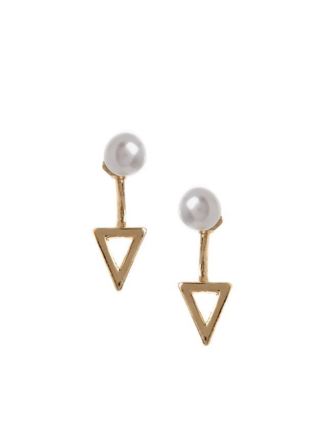 ASOS Faux Pearl Triangle Swing Earrings