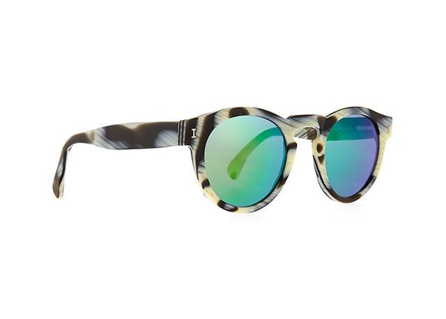 Illesteva Leonard Round Horn-Pattern Sunglasses