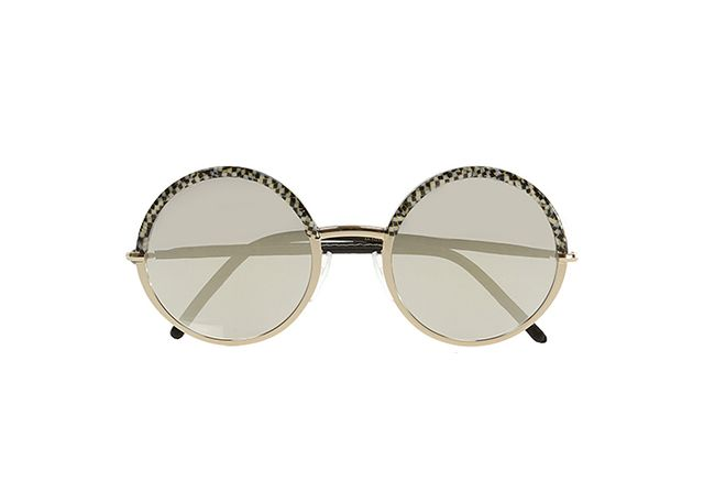 Cutler and Gross Round-Frame Acetate and Metal Mirrored Sunglasses