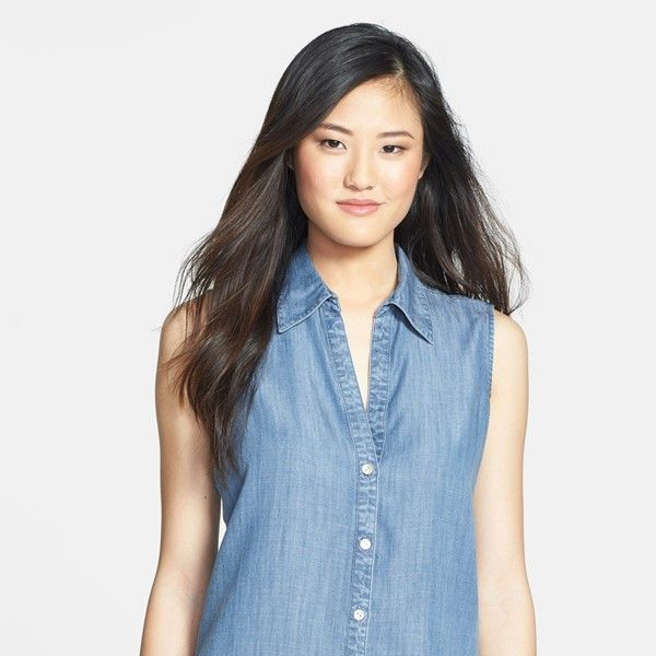 Foxcroft Sleeveless Tencel Chambray Shirt