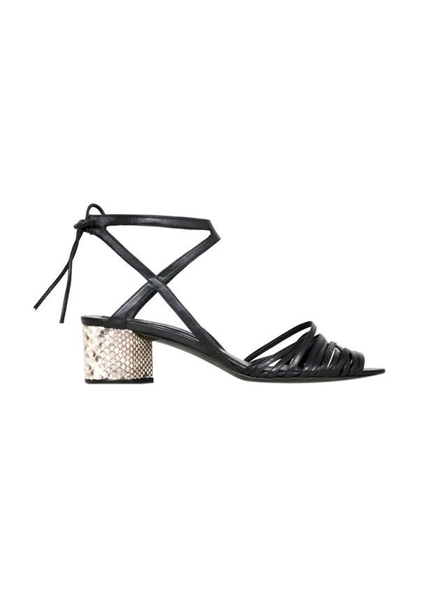 Narciso Rodriguez Python + Nappa Mid Heel Sandal