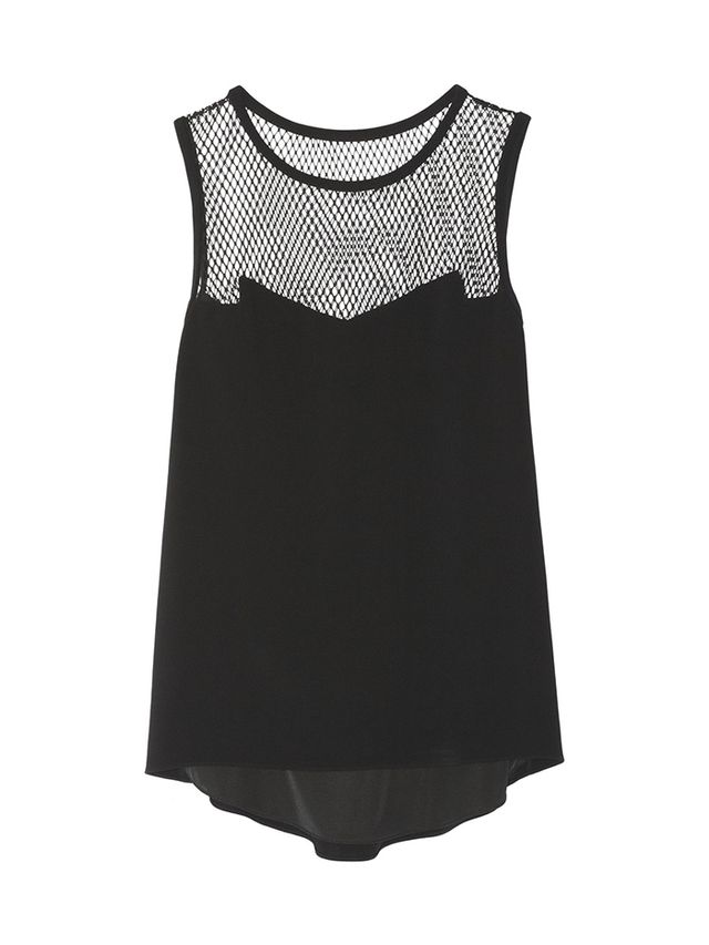 Rag & Bone Franklin Mesh-Paneled Crepe Top