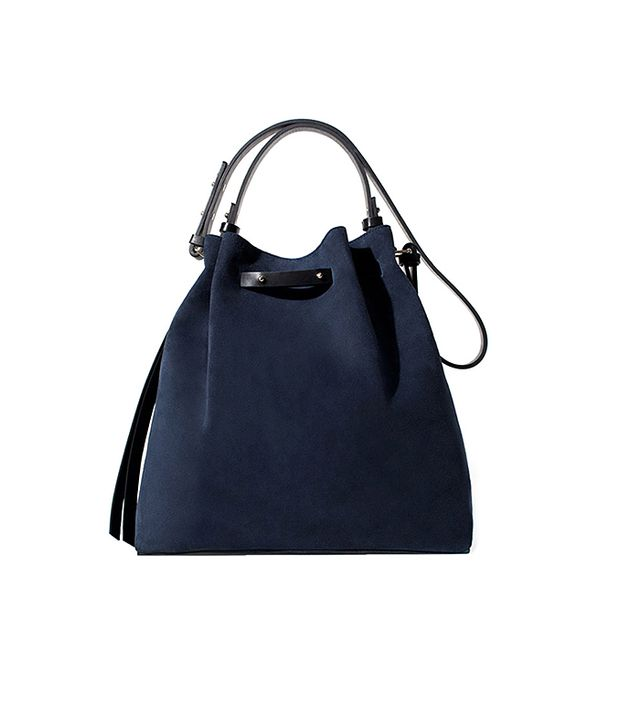 Zara Coloured Leather and Suede Bucket Bag in Navy Blue
