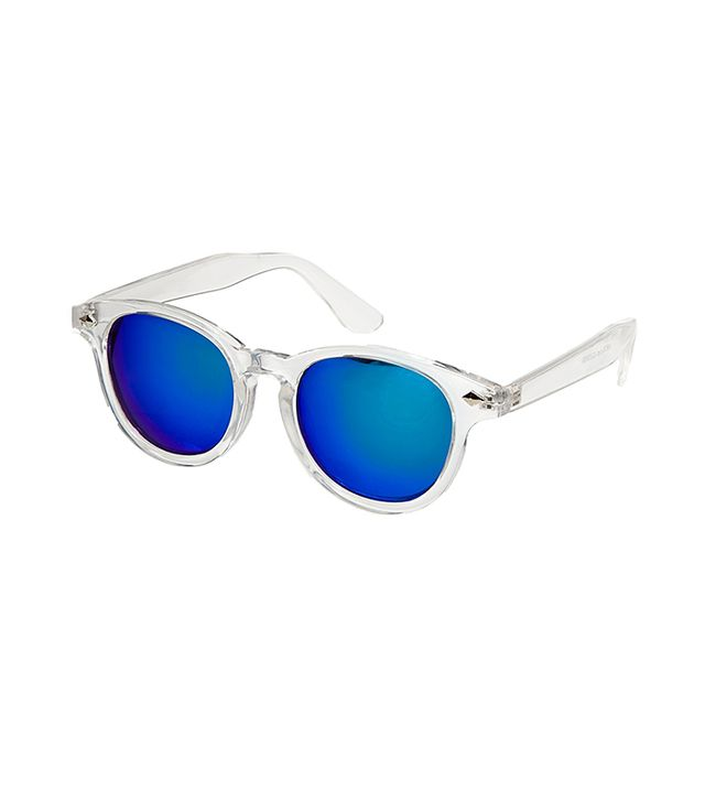 ASOS Preppy Wayfarer Sunglasses with Clear Frame and Colour Mirror Lens