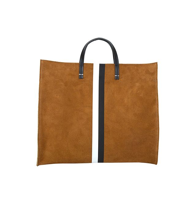 Clare V. Simple Tote in Camel Suede w/ Black and White