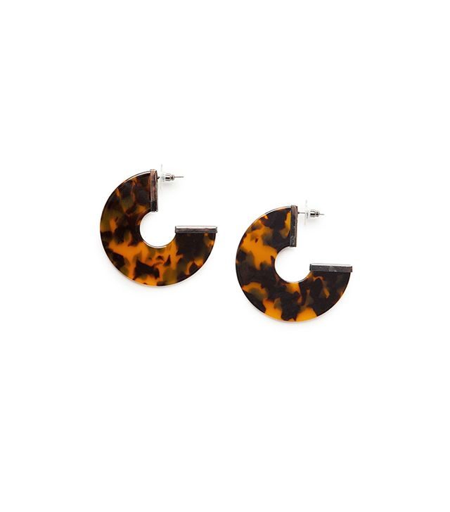 Mango Tortoiseshell Hoop Earrings in Chocolate