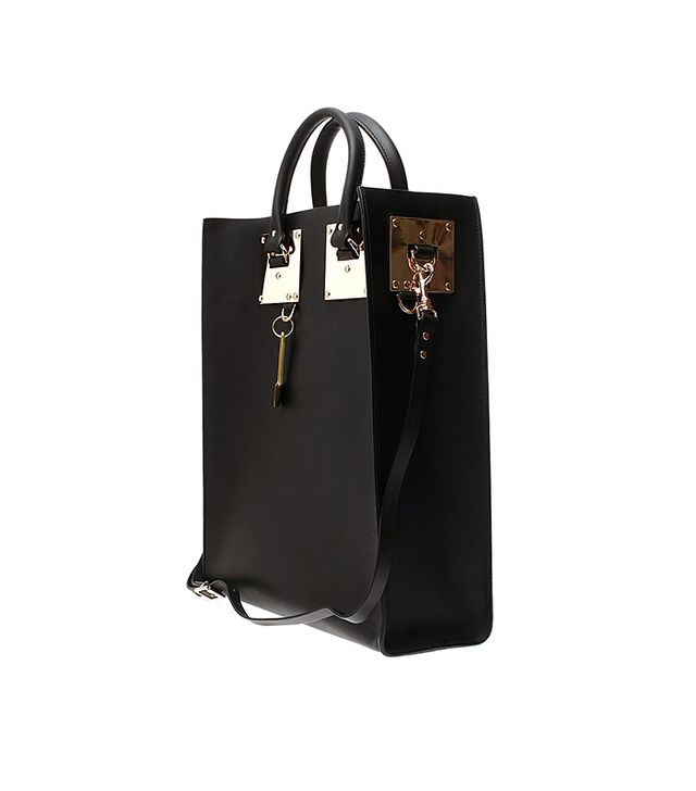 Sophie Hulme Structured Buckle Leather Tote in Black