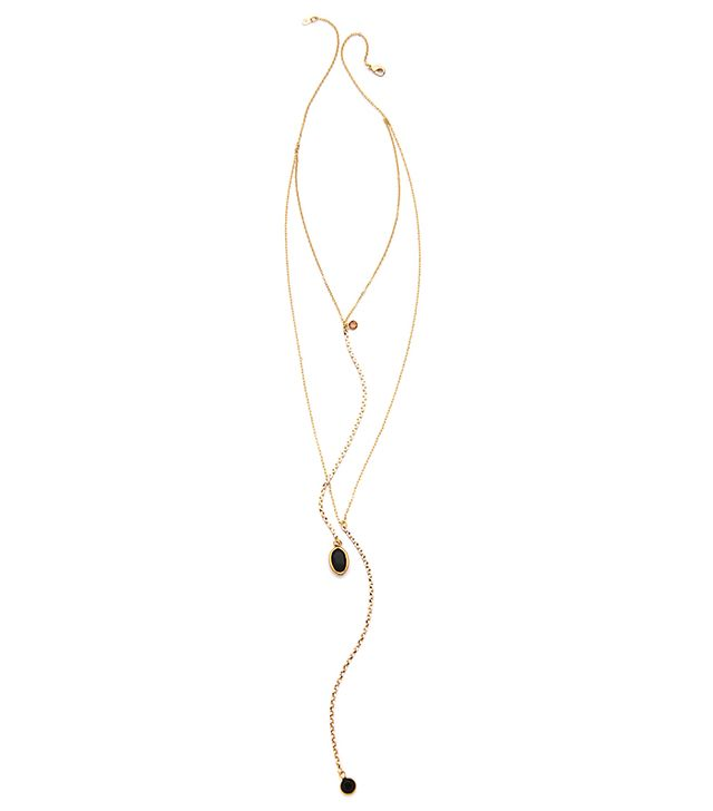 Serafina Delicate Vintage Channels Necklace in Black