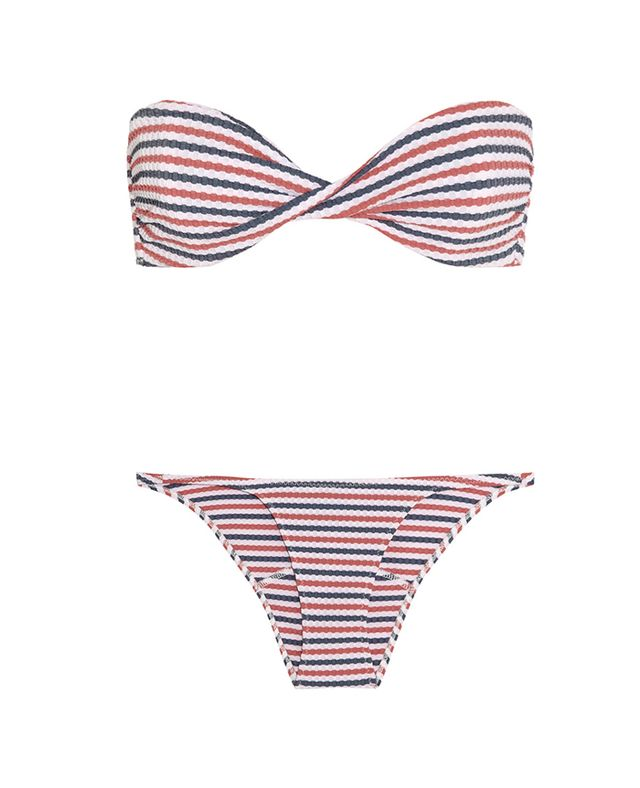 Lisa Marie Fernandez Alexia Textured Pucker Bandeau Bikini