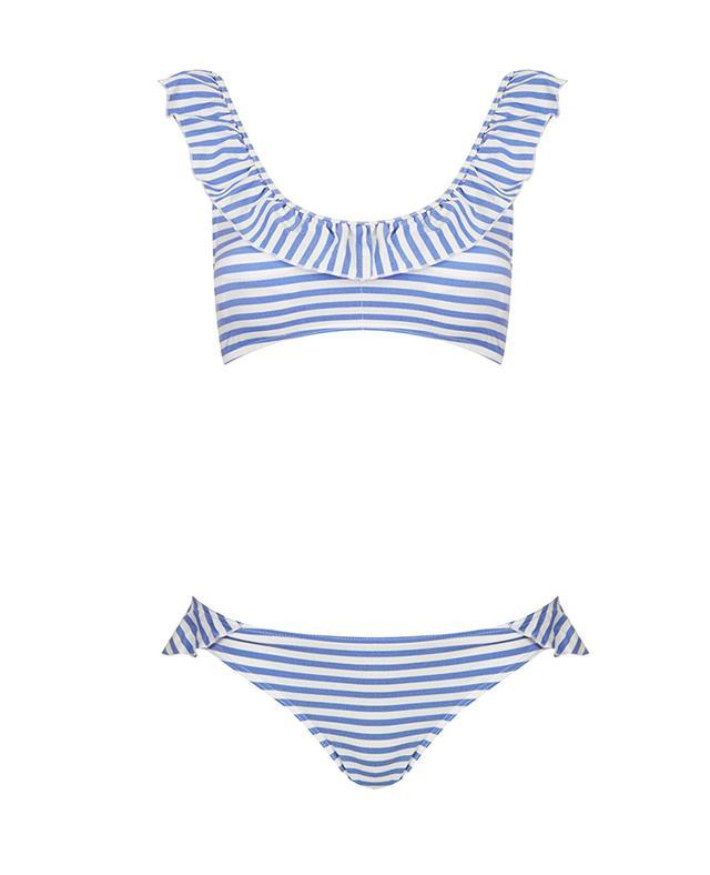 Topshop Stripe Frill Crop Bikini