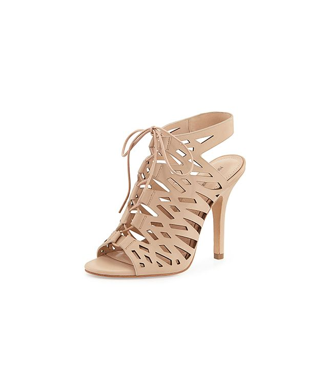 Pour la Victoire Yermak Laser-Cut Lace-Up Cage Sandals
