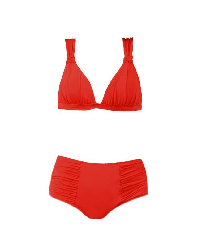 Voda Swim Scarlet Envy Push Up Ruched Halter & High-Wasted Bottom