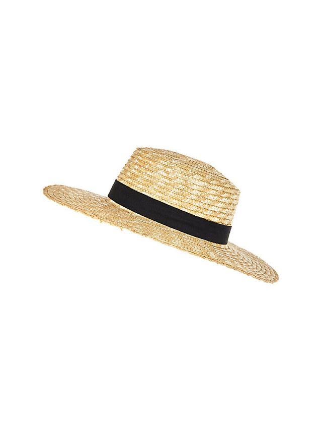 River Island Cream Straw Boater Hat