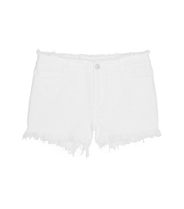 T by Alexander Wang Frayed Cotton-Burlap Shorts
