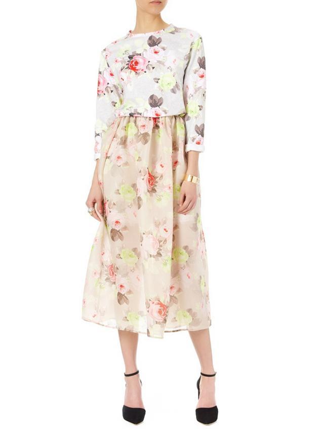 Carven Multi Silk Floral Full Skirt