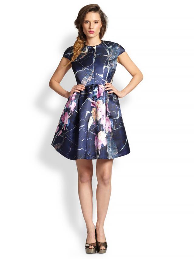 MSGM Floral & Marble-Print Satin Full-Skirt Dress