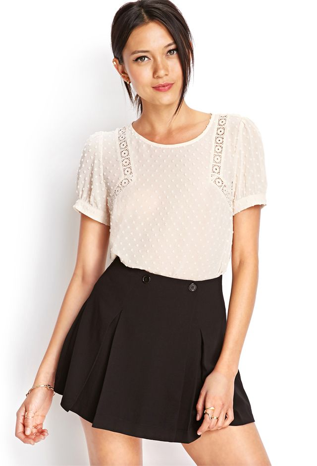 Forever 21 Swiss Dot Embroidered Top
