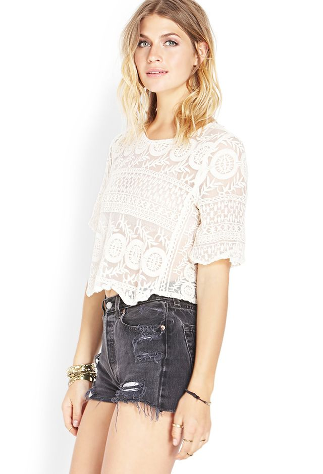 Forever 21 Romantic Embroidered Mesh Top