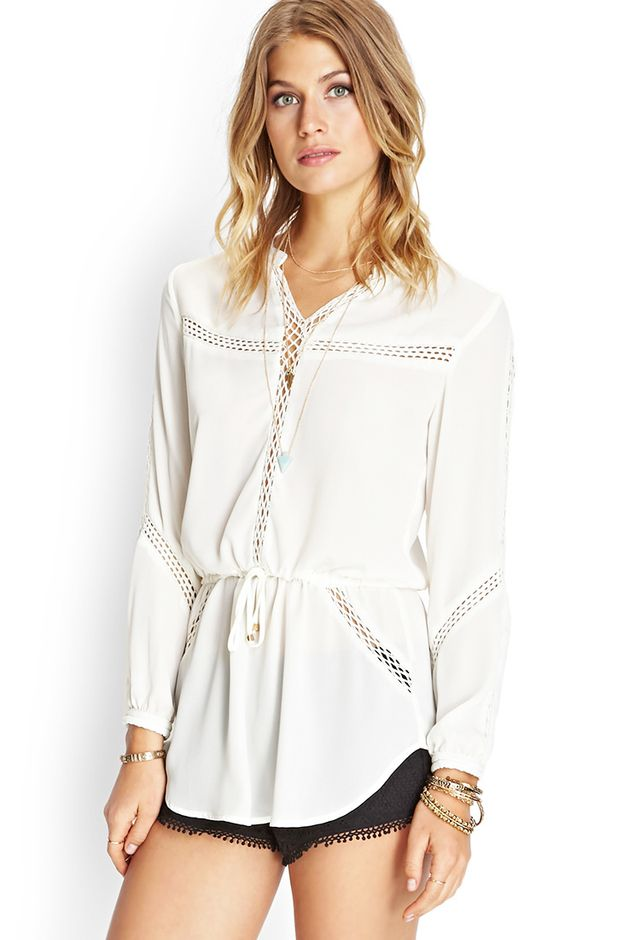 Forever 21 Crocheted Drawstring Tunic