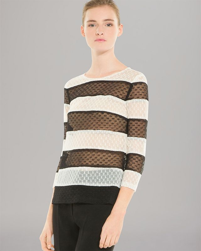 Sandro Expression Lace Stripe Top