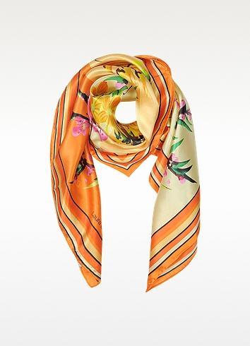 Laura Biagiotti Orange Floral Print Twill Silk Square Scarf