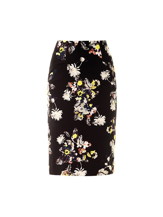 Erdem Frida Eames Garden-Print Pencil Skirt