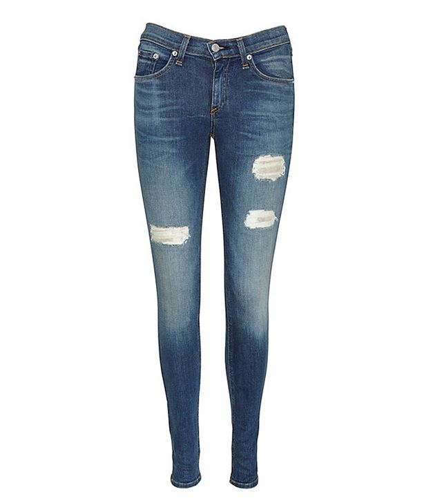 Rag & Bone Leather Patch Repair Skinny Jeans