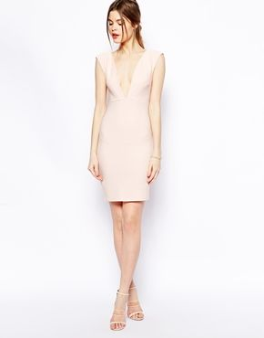asos.com Texture Deep Plunge Mini Dress