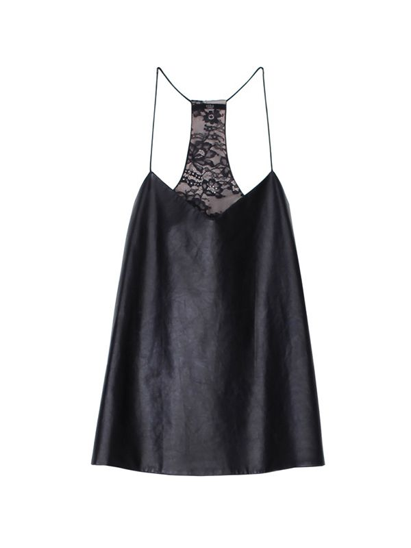 Tibi Leather & Silk Camisole