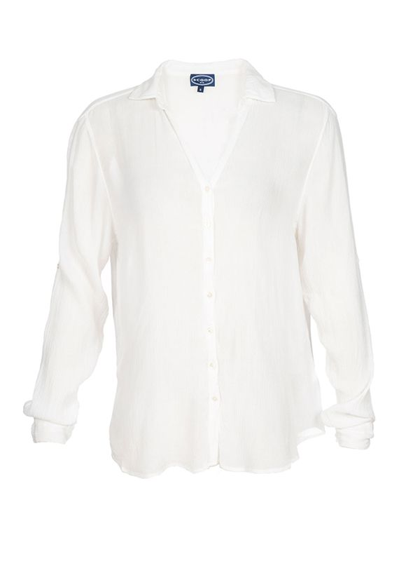 Scoop Airy Button Down Shirt