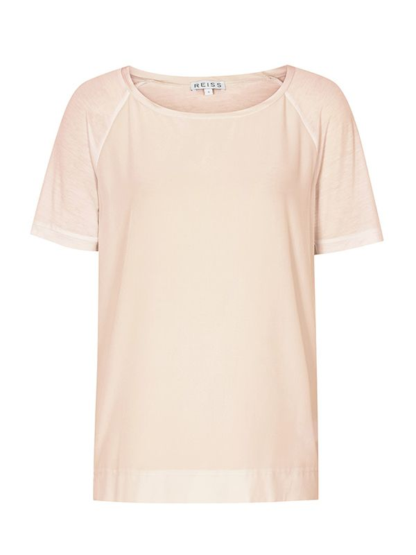 Paro Silk Front T-Shirt in Faint Rose