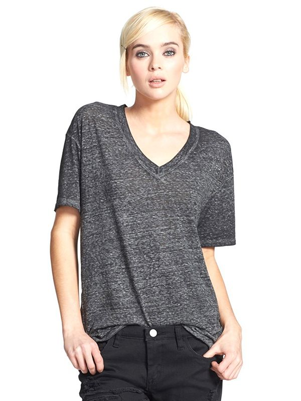 Leith Oversized V-Neck Tee in Charcoal