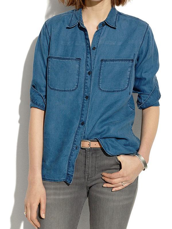 Madewell Indigo Linen Ex-Boyfriend Shirt in Raindrop