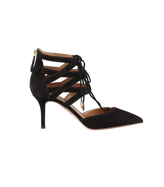 Aquazurra Belgravia Lattice Suede Sandal