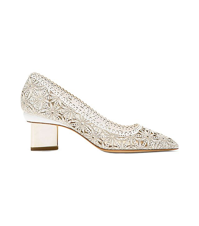 Nicholas Kirkwood White Lasercut Leather Heels