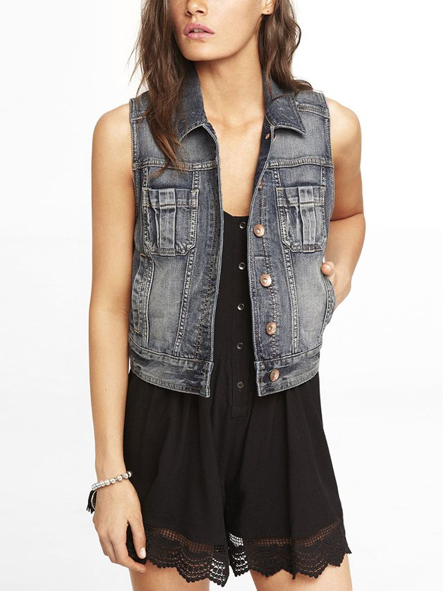 Express Shrunken Denim Vest