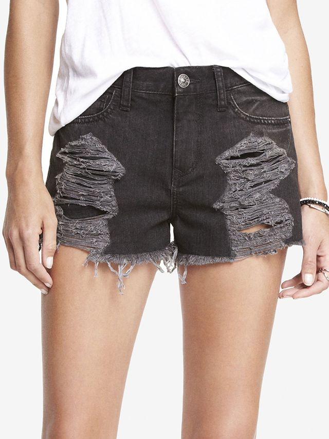 Express Destroyed Cutoff Denim Shorts