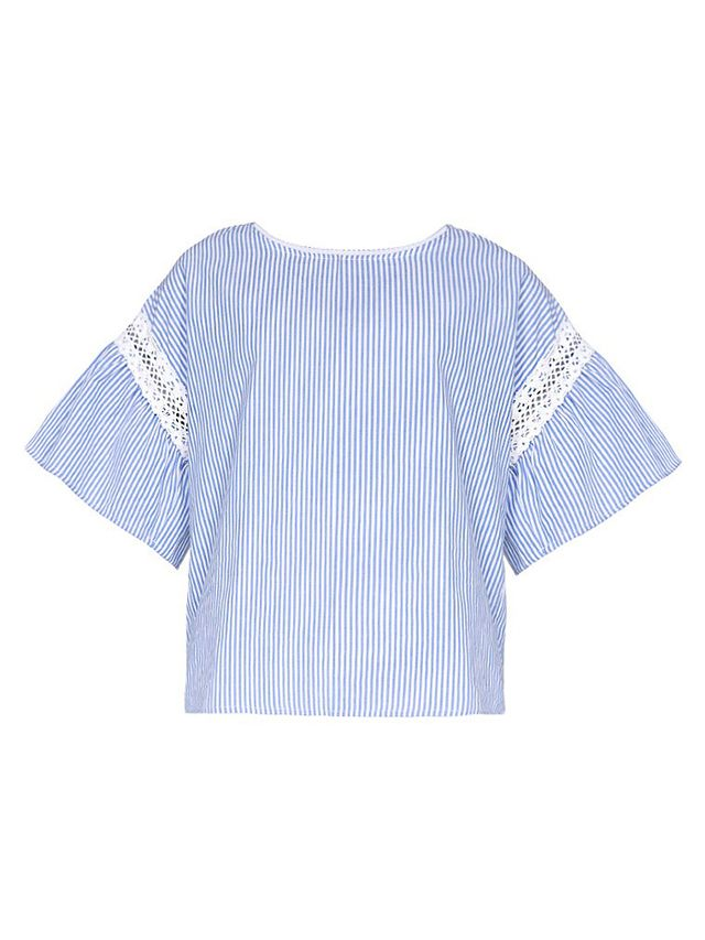 Pixie Market Cyndie Striped Lace Top