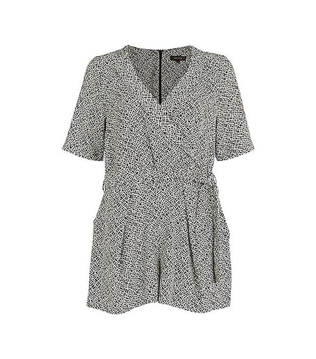 River Island Black Geometric Wrap Playsuit