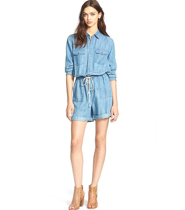 Hinge Long-Sleeved Chambray Romper