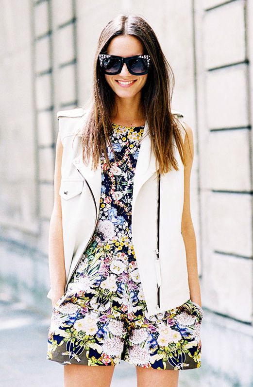 Look #6: Tropical Print + Moto Vest + Oversized Sunglasses