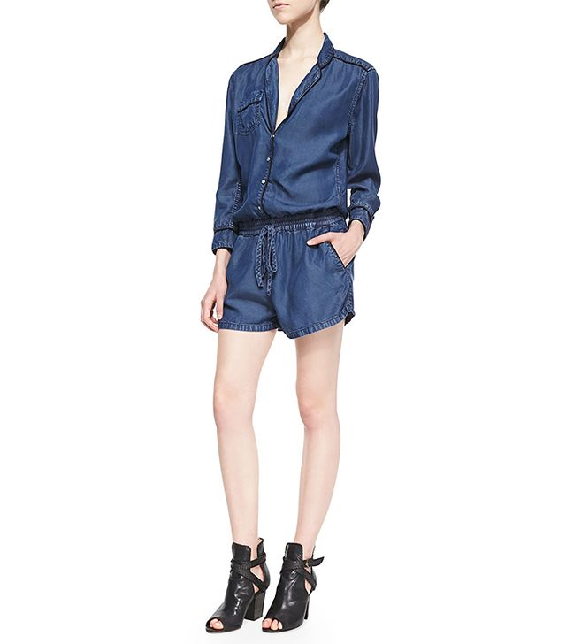 Blank Dark Chambray Drawstring Romper