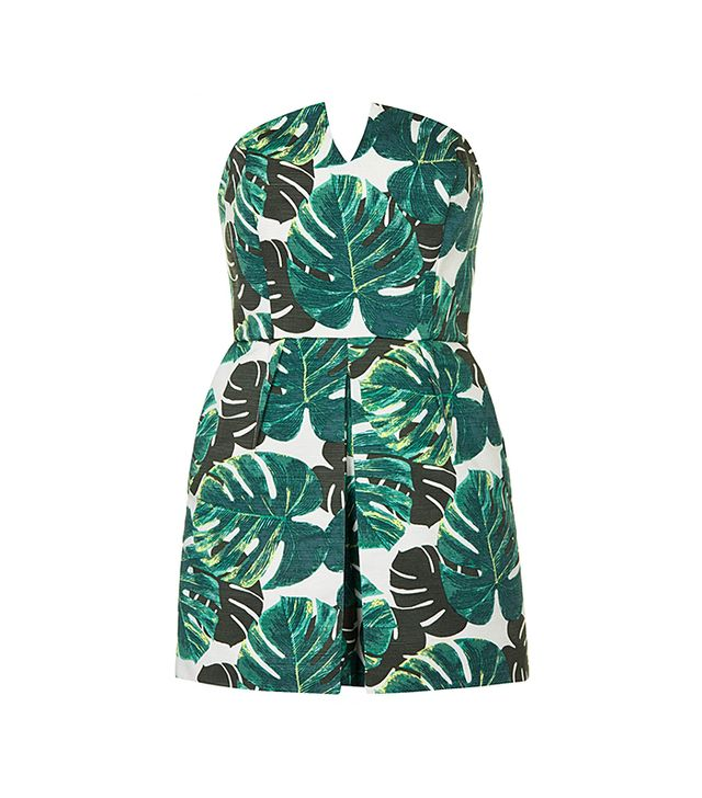 Topshop Palm Bandeau Skort Playsuit