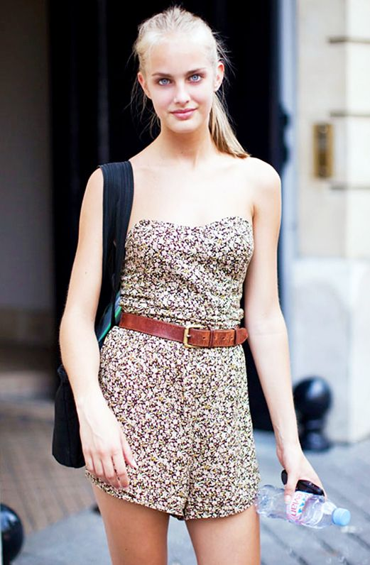 Look #9: Strapless + Brown Belt + High Ponytail